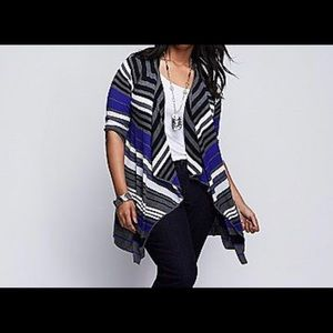 Striped Drape-Front Overpiece